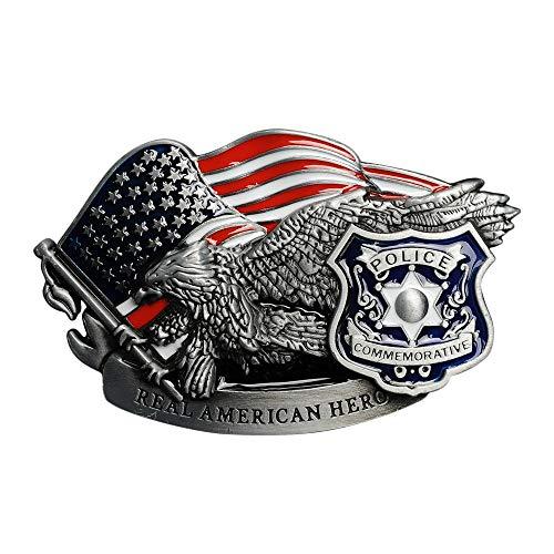 ベルトバックル ポリス 星条旗 イーグル REAL AMERICAN HERO