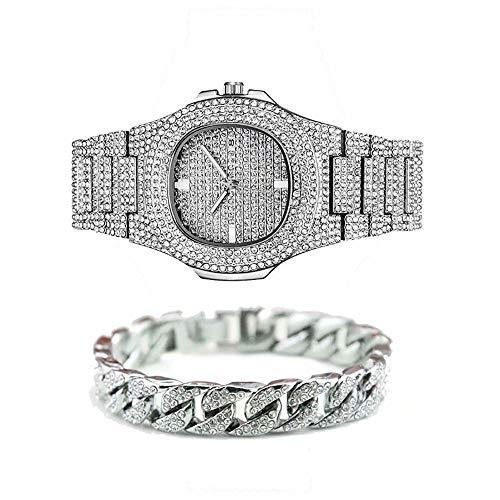 Jacklin-F Unisex Bling-ed Out Round Herrenuhr Diamant-Uhr Hip Hop Uhr mit passenden 7.87