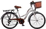 26 Zoll Kinderfahrrad Kinder Mädchen City Damen Fahrrad Mädchenfahrrad Damenfahrrad Cityfahrrad Rad Bike Citybike Shimano 21 Gang STVO Beleuchtung Fantasia Weiß Weiss Braun TY2021