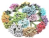Delush Design Artificial Pollen Flowers Hair Accessory Tiara Decor Craft Flowers- (Pack of 144 pcs, Multi)