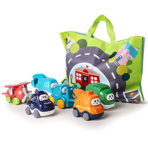 ALASOU 2021 Edition Baby Truck car Toy Sets and playmat/Storage Bag for Toddler | Baby Toys 12 - 18 Months | Toys for 1 2 3 Year Old boy| Birthday Gifts for Infant Toddlers(6 Sets)