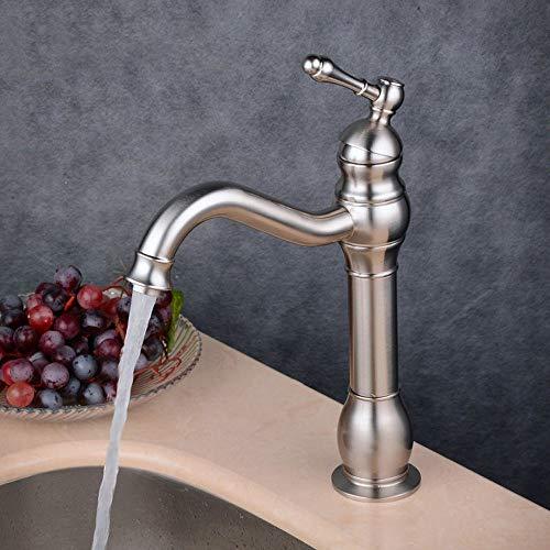 Grifo de baño de estilo europeo de latón de bronce negro de un solo agujero de agua mezclada caliente y fría por encima del lavabo (color: plata)