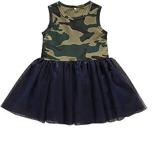 4a3ec987b19db Hongyuangl Enfant Fille T-Shirt Robe Col Rond sans Manches Camouflage Robe  de Pettiskirt