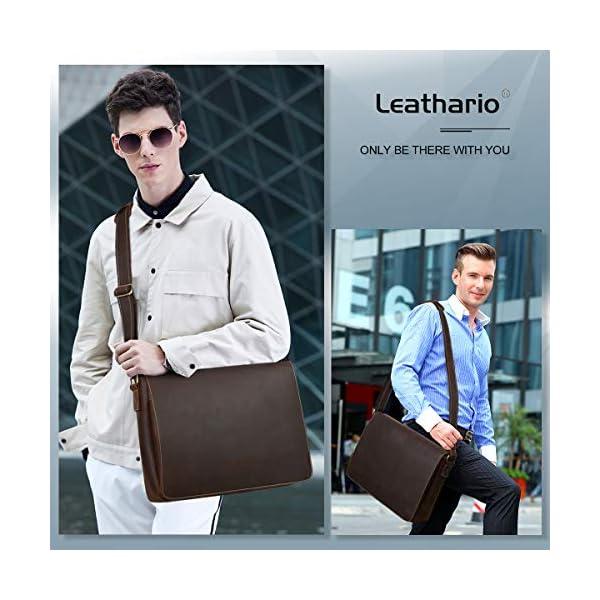 511qICEHORL. SS600  - Leathario Bolso Maletín 14 Pulgadas Cuero Auténtico Vintage de Trabajo para Hombres Bandoleras y Bolsas Mensajero para…
