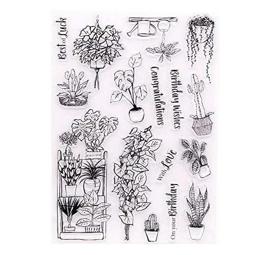 DIY Your Garden Potted Plants Lily Cactus Snake Plant Birthday Wishes Felicitaciones Sellos de goma transparentes para hacer tarjetas Decoración y DIY Scrapbooking Sellos de goma para manualidades