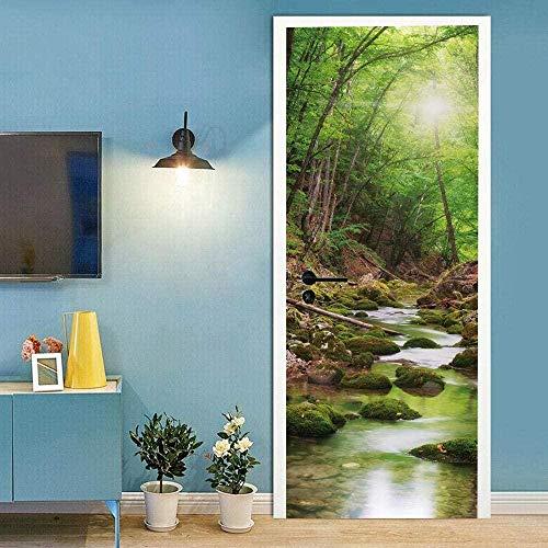 LuSeven vinilo puerta Verde bosque río paisaje 40x120cm pegatinas autoadhesivas de PVC, efecto 3D para decoración de puertas, arte de fotos, papel pintado