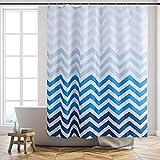Furlinic Duschvorhang 180x180 Anti-schimmel in Badezimmer Vorhang für Badewanne Dusche Wasserdicht Textile Gardinen aus Stoff Waschbar Chevron Weiß Blau mit 12 Duschringe.