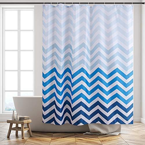 Furlinic Duschvorhang 180x180 Anti-schimmel in Badezimmer Vorhang für Badewanne Dusche Wasserdicht Textile Vorhänge aus Stoff Waschbar Chevron Weiß Blau mit 12 Duschringe.