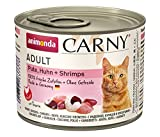 Comida para gatos animonda Carny Adult, comida húmeda para gatos adultos, pollo + gambas, 6 x 200 g