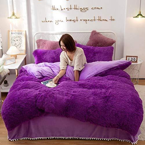 zxczxc Winter Super Warm Long Plush Bedding Set Fluffy Faux Fur Shaggy Duvet Cover Pompoms Ruffles Bedskirt Pillowcase Set