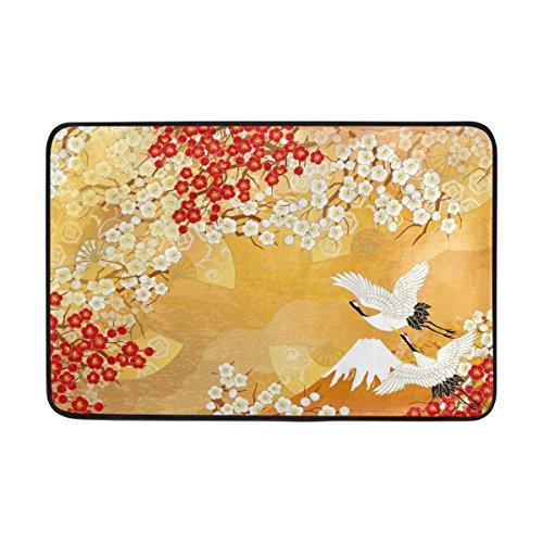 Use7 Paillasson de style japonais Motif grue et fleur pour intérieur et extérieur 60 x 40 cm