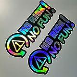 2 x No Risk No Fun holograma Oilslick Rainbow Flip Flop Negro Pegatinas Metallic efecto Shocker mano Auto JDM Tuning OEM Dub Decal Stickerbomb Bombing Sticker Illest Dapper Fun Oldschool
