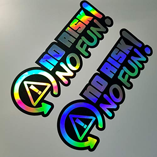 2x No Risk No Fun Hologramm Oilslick Rainbow Flip Flop Schwarz Aufkleber Metallic Effekt Shocker Hand Auto JDM Tuning OEM Dub Decal Stickerbomb Bombing Sticker Illest Dapper Fun Oldschool