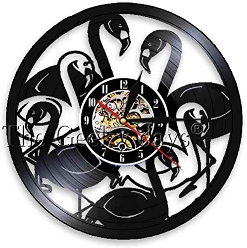 Vinyl Wandklok 1 stuk Vogels Led Vinyl Wandlamp Dieren Cirkel Vinyl Wandklok Art Home Decor Interieur Vinyl Record Decor Clock-Without_Led_a