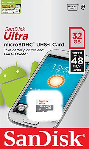 SanDisk Ultra microSDHC 32GB bis zu 48MB/Sek, Class 10 Speicherkarte