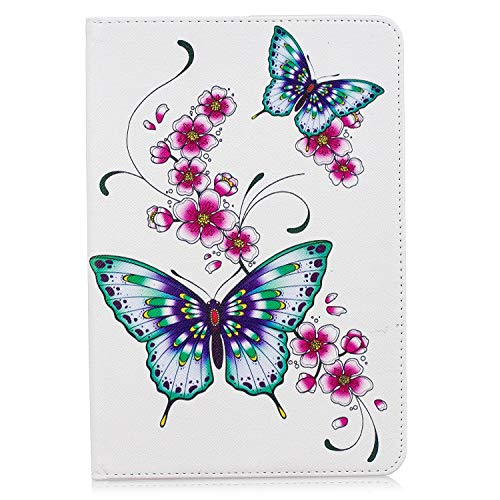 ShinyCase Case for Apple iPad mini 5 (2019 release) Tablet, Soft PU Leather with Silicone Back Case Ultra Lightweight Flip Stand Smart Cover older Auto Wake/Sleep Up Book Cover, Butterfly Flower
