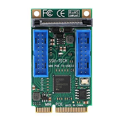 Mini Tarjeta de expansión PCI-E a USB3.0, PCI Express a USB3.0 Frontal Pin Head 19/20PIN, Compatible con Windows XP / 2003 / Vista / win7 / win8 / win10 / 2003 / Linux(19 Pines)