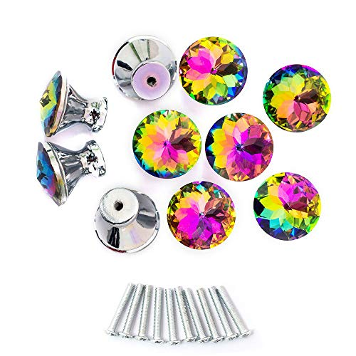 Spriak 10 Pack Drawer Knobs, 30mm Colorful Crystal Glass Cabinet Dresser Pulls Diamond Shape Cupboard Wardrobe Knob for Kitchen Bathroom Office DIY
