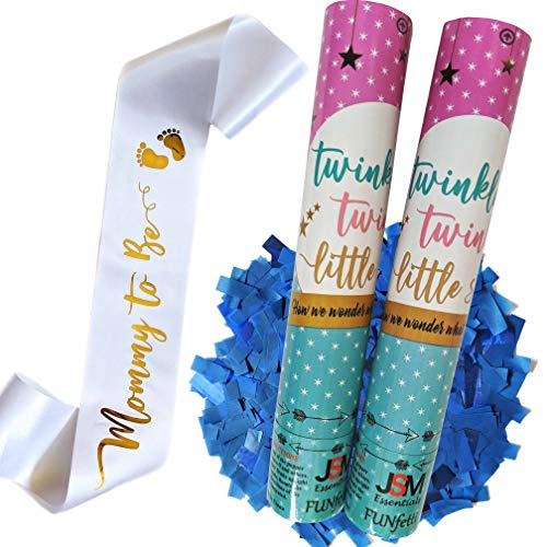 Gender Reveal Pink or Blue Confetti Poppers   Mommy to Be Sash in Satin White with Gold Letters   Themed Party: Twinkle Twinkle Little Star (Blue, Set of 2)