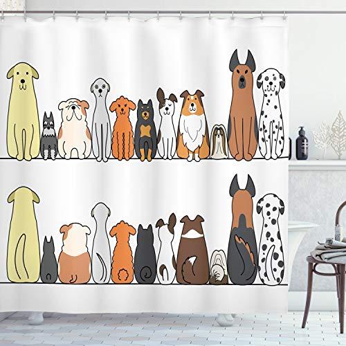 ABAKUHAUS Duschvorhang, Multikulturelle Hundefamilie Folge von der Hinteren und Vorderen Ansicht Begleiter Comic Kunst, Blickdicht aus Stoff mit 12 Ringen Waschbar Langhaltig Hochwertig, 175 X 200 cm
