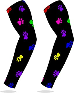 Sports Compression Arm Sleeve Cooling Sun Protection for Baseball Basketball Football Running Driving Cycling for Boys Youth Girls Kids Men Women with Colorful Footprints On Black - 1 Pair