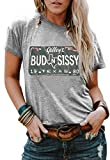 Womens Bud N Sissy T Shirt Tops Casual Vintage 1980 Texas Urban Cowboy Letter Graphic Tee Shirt Short Sleeve Blouse (Large, Grey)
