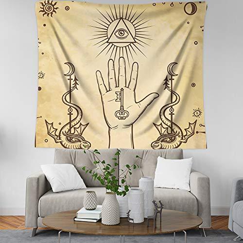 Vintage Boheemse Indiase hippie Psychedelische Vogue Print Fabric, Astrologie vliegende draak tarot, grote decoratieve hangdoek voor woonkamer en slaapkamer 200 × 150 cm