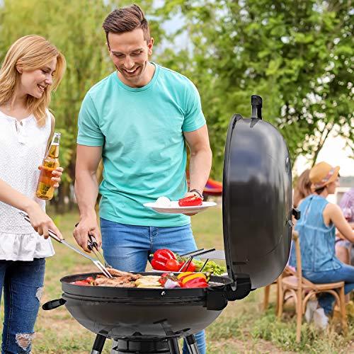 TACKLIFE Holzkohle Grill, Kugelgrill 91 * 76 * 56 cm, ø 57cm mit 4 Dicke Beine, Rundgrill mit Extra Grill und Regal, geeignet für Partys, Camping, Grillen (Empfohlene: 5-12 Personen) - CG01A - 7