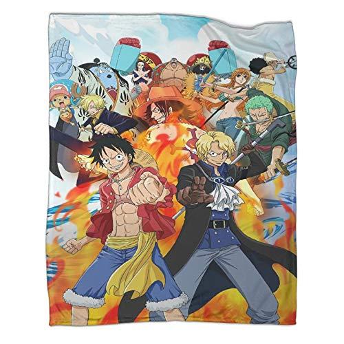 Manta decorativa ligera para cama, sofá, anime, de una pieza, Luffy y todos los roles, decoración de vacaciones, 80 x 100 cm