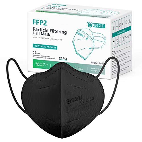 IDOIT 20 Stück FFP2 Maske,Atemschutzmaske mit 5-lagiger Filterung, Mund- und Nasenschutz Einwegmasken ,Hautfreundlichkeit,komfortabel tragbar,einzeln verpackt