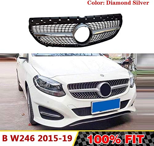 HYNB Diamond Grille voorbumper Racing Grill voor Mercedes Benz B-Klasse W246 B180 B200 B250 B220 2015-2018, zilver, zilver
