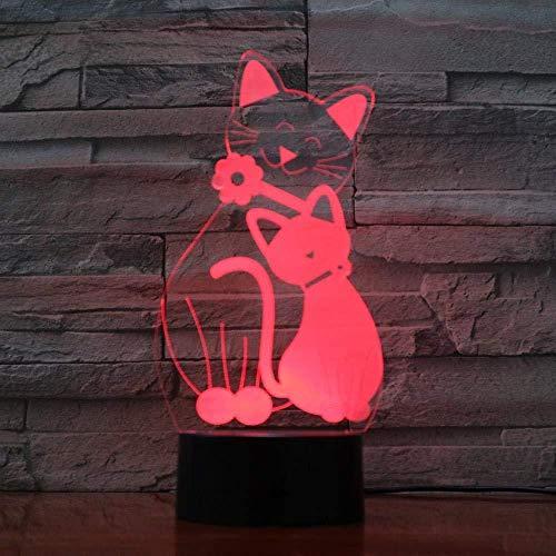 Presentación De Diapositivas En 3D Lindo Gato Con Luz Nocturna Led, Con 7 Colores, Increíble Lámpara De Mesa Óptica Visual Para La Decoración Del Hogar