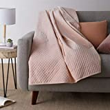 Amazon Basics Quilted Minky Weighted Blanket Cover - 60' x 80' (Full/Queen), Blush