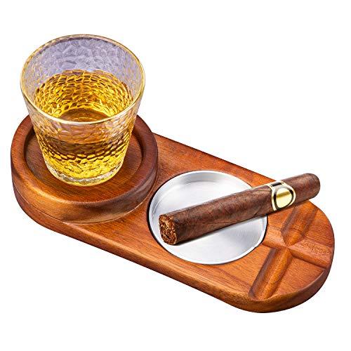 Cigar Ashtrays Outdoor Whiskey Glass Tray|2 Slot Large Ashtray Cigar Holder Cigar Ashtray for Patio,Outdoor,Home & Office Use,Whiskey Cigar Accessories Set Gift for Men(round)