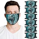 PPangUDing 6PC Mundschutz mit Motiv 3D Lustig Waschbar Wiederverwendbar Baumwolle Atmungsaktive Staubdicht Mund und Nasenschutz Bandana Halstuch Multifunktionstuch für Damen Herren
