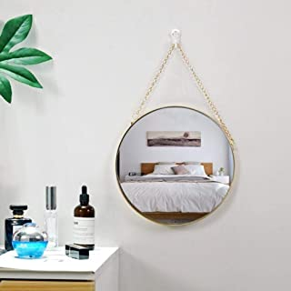 """TSY 10"""" Round Mirror with Hanging Chain Wall Mirror Decorative Mirror Decorative Circle Vanity Mirror for Bathroom, Bedroom and Living Room"""