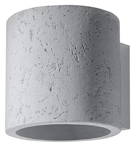 Moderna lámpara de pared de hormigón, diámetro de 10 cm, altura: 10 cm, redonda, G9, lámpara de pared para salón, pasillo, escaleras de Valerya
