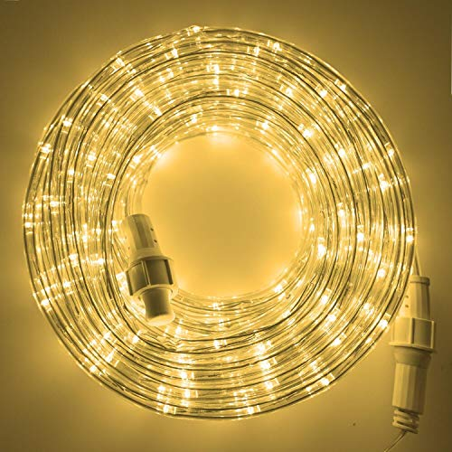 Twinkle Star LED Rope Lights Outdoor, 33 FT 240 LED, Low Voltage, Connectable Indoor Outdoor Garden Patio Party Weddings Christmas Decoration, Warm White