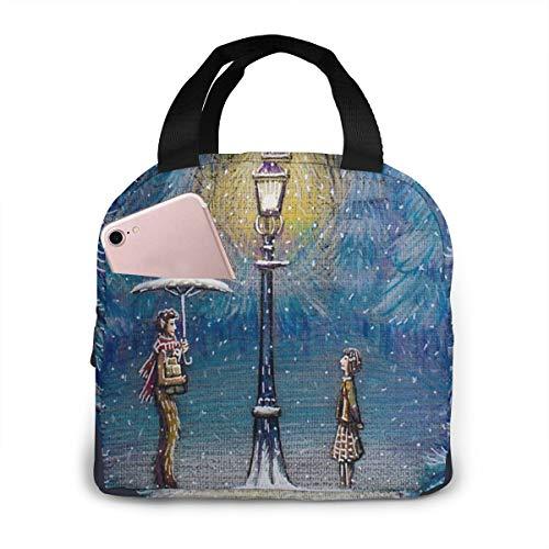 Narnia Magische Laterne, tragbare, isolierte Lunchtasche, große Kapazität, Kühltasche für Outdoor, Picknick, Schule, Büro, Arbeit, Lunchbox, Organizer mit Fronttasche