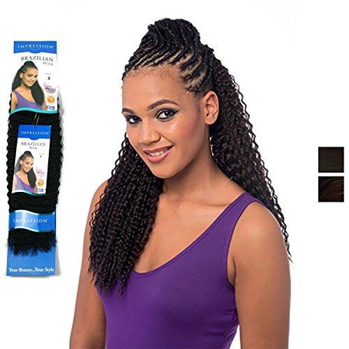 Impression - Brazilian Braid 20'' Inch 50 cm elegante Kunsthaar Braids bulk, Farbe:2 (Dunkelbraun)