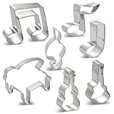 Music Notes Cookie Cutters G Clef, Eighth Note, 2 Eighth Note, A Quarter Note, Piano, Violin and Guitar - Stainless Steel 7 PCS
