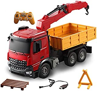 Hmwxbs Kids Toys RC Trucks 360° Spins Remote Control Dump Truck LED Lights Driving Engineering Cars Container Vehicle Radio Controls Tip Lorry Auto Lift Car Toy