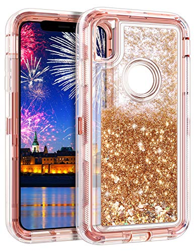 Wollony iPhone Xs Max Case,Heavy Duty Liquid Bling Quicksand Glitter Case iPhone Xs MAX 360 Full Body Shockproof Hard Bumper Non-Slip Soft Clear Rubber Protective Cover (Rose Gold