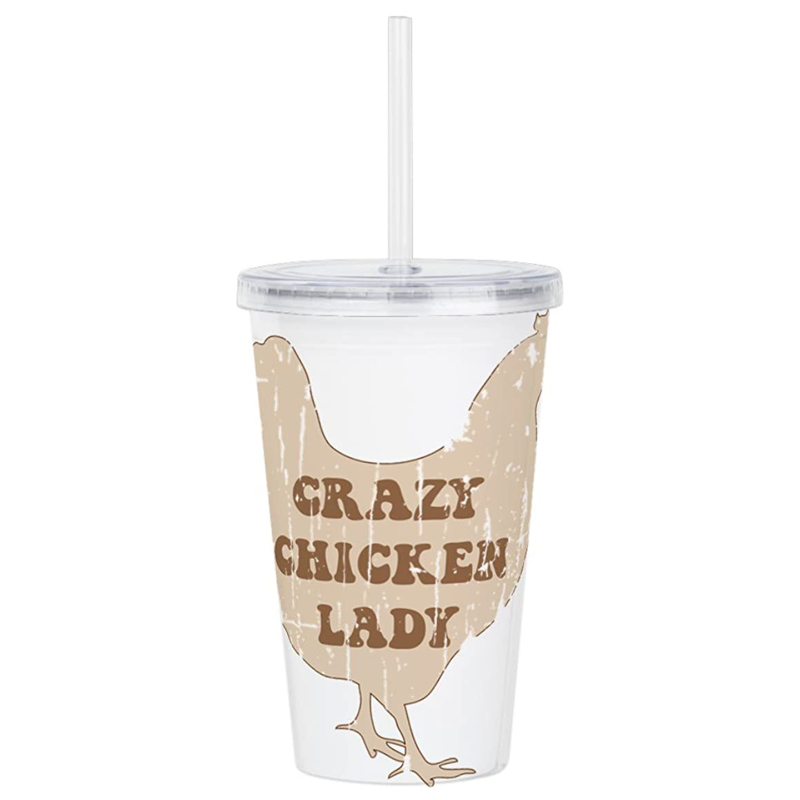 CafePress - Crazy Chicken Lady - Insulated Straw Cup, 20oz Acrylic Double-Wall Tumbler