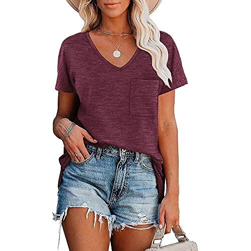 Camisa Mujer Camiseta Mujer Elegante Cómodo Color Puro Simple con Cuello En V Blusa Suelta Y Transpirable Verano Sexy Tela Suave Camiseta Fresca Y Transpirable De Manga Corta E-Red S
