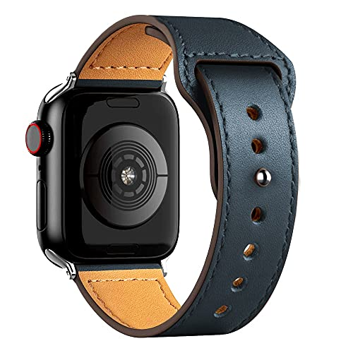 Ternzun Correa de cuero para Apple Satch Band 40mm 42mm 38mm 44mm Accesorios Smartwatch Pulsera iWatch 3 4 5 6 se (42mm o 44mm, azul medianoche)