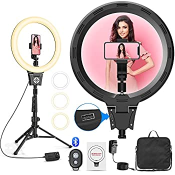 """Selfie Ring Light 12"""" Ring Light with Stand Holder for Live Stream YouTube Video Makeup Dimmable LED Camera Ring Light & 3 Light Modes & 30 Brightness Levels Compatible with iPhone/Android"""