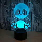 3D Panda Night Light Illusion Lamp 7 Color Change LED Touch USB Table Gift Kids Toys Decor Decorations Christmas Valentines Gift