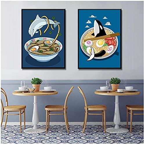 FUXUERUI Cuadro de arte de pared de tiburón delfín japonés Ramen pintura en lienzo póster impreso para cocina restaurante decoración de pared,40x60cmx2 sin marco