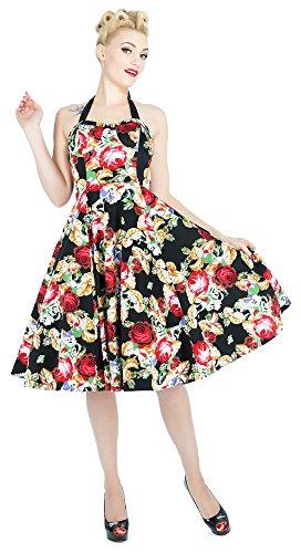 H&R London Kleid Rose FLORAL Dress 9485 Schwarz XL